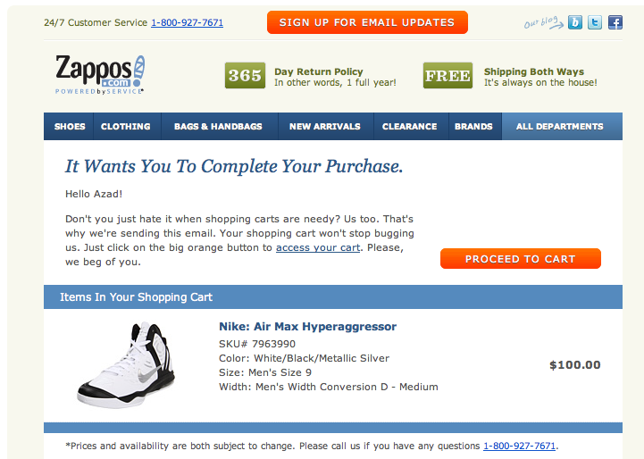 Zappos Shopping Cart Is Too Needy