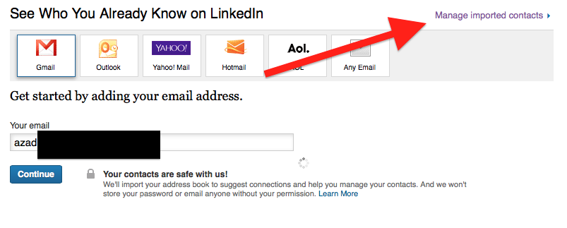 how to delete email address from linkedin